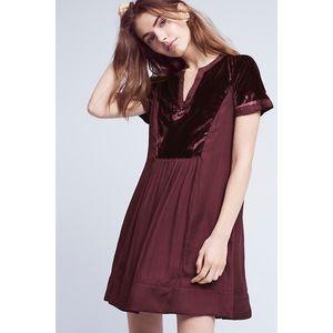 Anthropologie Maeve velvet dress burgundy small